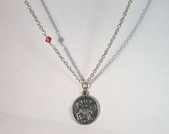 Aries Celestial Zodiac Silver Double Sided Necklace