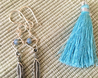 Feather Earrings, Tassel Earrings, Feather Earrings, Bohemian Earrings, Drop of a Freather Dangle, Jewel Earrings.
