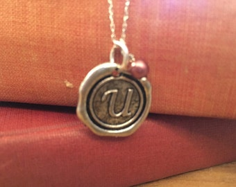 Initial Necklace, Silver U Necklace Letter Charm, Name Necklace, Personalized bridesmaids Jewelry, Letter charm necklace