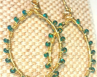 Wire Wrapped Blue Beaded Gold Hoop Earrings