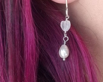 Rose Quartz Earrings, Pearl Earrings, Rose Quartz Heart Earrings, Pearls, Rose Quartz