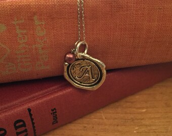 Initial Necklace, Silver A Wax Seal Charm Necklace, Monogrammed, Name Necklace, Personalized bridesmaids Jewelry, Letter charm necklace