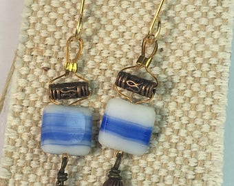 Arabian Blue Striped Czech Glass