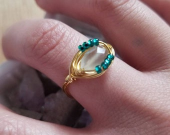 Dreamer: Moonstone Ring, Gold Moonstone Ring, Sea Glass Moonstone Gold Ring, Bohemian Moonstone Ring, Spring Jewelry