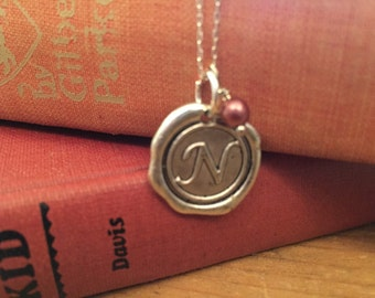 Initial Necklace, Silver N Wax Seal Charm Necklace,  Letter Charm, Name Necklace, Personalized bridesmaids Jewelry, Letter charm necklace