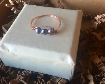 Blue Pearl Ring, Nesting Ring in Cloud, Stacking Ring, Wire Wrapped Pearl Ring, June Birthstone, Birthstone Ring, Pearl Jewelry, Pearls,