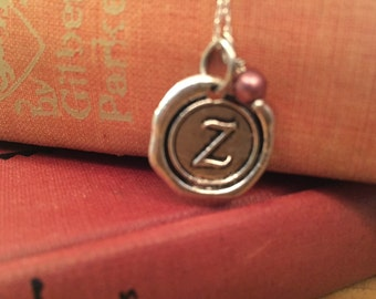 Initial Necklace, Silver Z Necklace Letter Charm, Name Necklace, Personalized bridesmaids Jewelry, Letter charm necklace