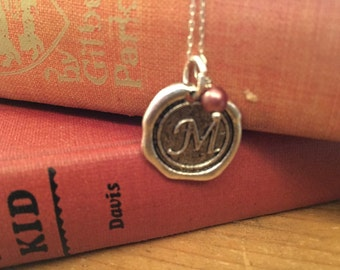 Initial Necklace, Silver M Wax Seal Charm Necklace,  Letter Charm, Name Necklace, Personalized bridesmaids Jewelry, Letter charm necklace