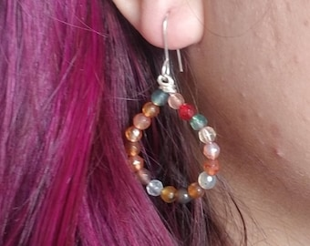 The Florist: Agate Crystal Earrings, Crystal Hoop Earrings,