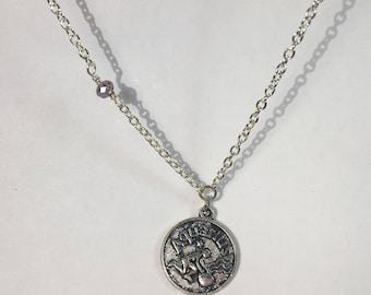 Aquarius Celestial Zodiac Silver Necklace