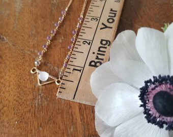 White Moonstone Gold Necklace with purple drop handmade chain, 14k Gold Filled Chain