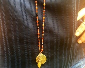 Gold Labyrinth Leaf Hand Knotted Mala Silk Tigers Eye Citrine Artisan Necklace. Made To Order