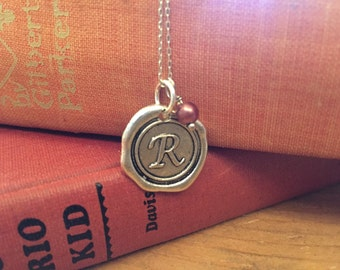 Initial Necklace, Silver R Necklace Letter Charm, Name Necklace, Personalized bridesmaids Jewelry, Letter charm necklace