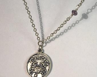 Cancer Celestial Zodiac Silver Necklace