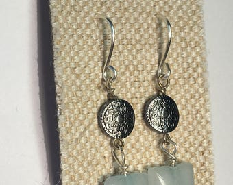 Blue Stone Silver Mini Disk with Celtic Design Earrings