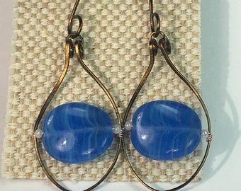 Bronze Hoop Hammered Blue Beaded Earrings