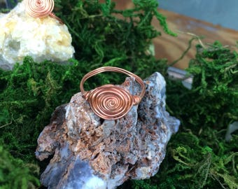 Wire Wrapped Ring, Nesting Ring, Gold Wire Ring, Copper Wire Ring, Sunburst Labyrinth Wrapped Ring