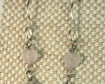Rose Quartz Earrings, Pearl Earrings, Rose Quartz Heart Earrings, Pearls, Rose Quartz