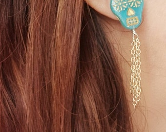 Skeleton Key -Sugar Skull Gold Post Earrings