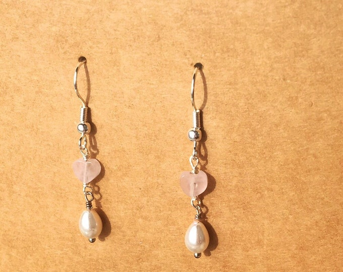 Featured listing image: Rose Quartz Earrings, Pearl Earrings, Rose Quartz Heart Earrings, Pearls, Rose Quartz