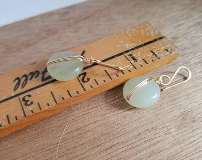 Featured listing image: Jade Green Organic Maker: Jade Drop Earrings, Circle Drop Earrings, Gold Filled Drop Earrings, Jade Crystal Earrings, Minimalist Earrings