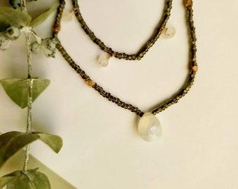 Rainbow Moonstone Multi-Strand Necklace. Moonstone Necklace