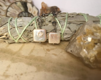 Mother of Pearl Crystal Gypsy Artisan Earrings. Artisan Pearl Earrings