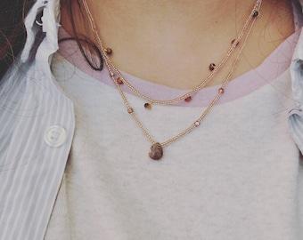 Chocolate Moonstone and Jasper Multi-strand necklace.
