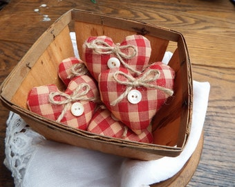 6 Primitive Mini Hearts, Mason Jar Fillers, Primitive Country, Red Heart Bowl Fillers, Country Hearts, Primitive Country Home, Small Hearts