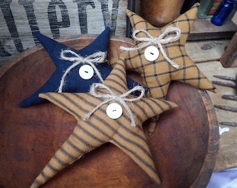 Primitive Stars, Mustard, Navy, star bowl fillers, Cupboard Tucks, Primitive bowl fillers, Primitive country décor, Fabric bowl fillers