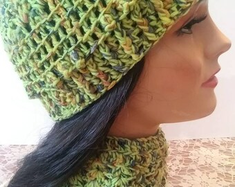 99e4f79d0fc0d So Pretty Multi Flecked Ribbon and Lime Green Cotton Hand Crocheted Women s  Ladies And Girls Hat And Neck Cuff Or Scarf