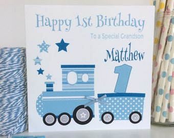 1st birthday card etsy personalised train birthday card 1st first 2nd 3rd 4th 5th son grandson godson nephew brother 1st bookmarktalkfo Images