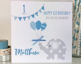 Personalised 1st Birthday Card Boys Son Grandson Nephew LB412