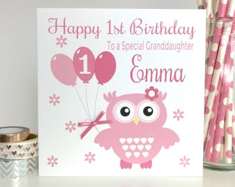 Personalised Birthday Card 1st 2nd 3rd 4th 5th Granddaughter Daughter Niece LB096