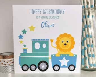 Personalised Birthday Card Train 1st 2nd Grandson Nephew Lion LB315