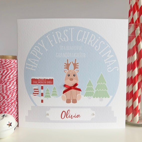 Personalised Baby Boy 1st First Christmas Card Son Grandson Godson Nephew