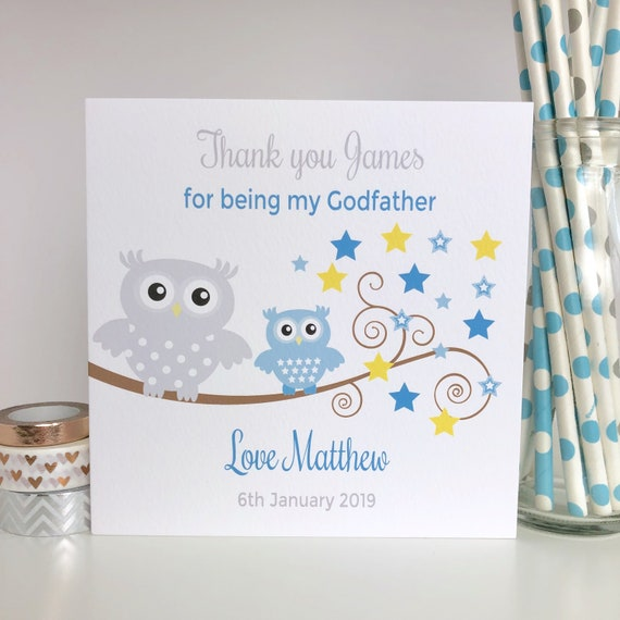 PERSONALISED GODPARENT Ceramic Card Idea for CHRISTENING Day My GODPARENTS On