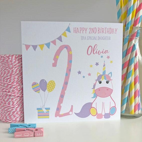 Personalised Unicorn 2nd Birthday Card Daughter Granddaughter