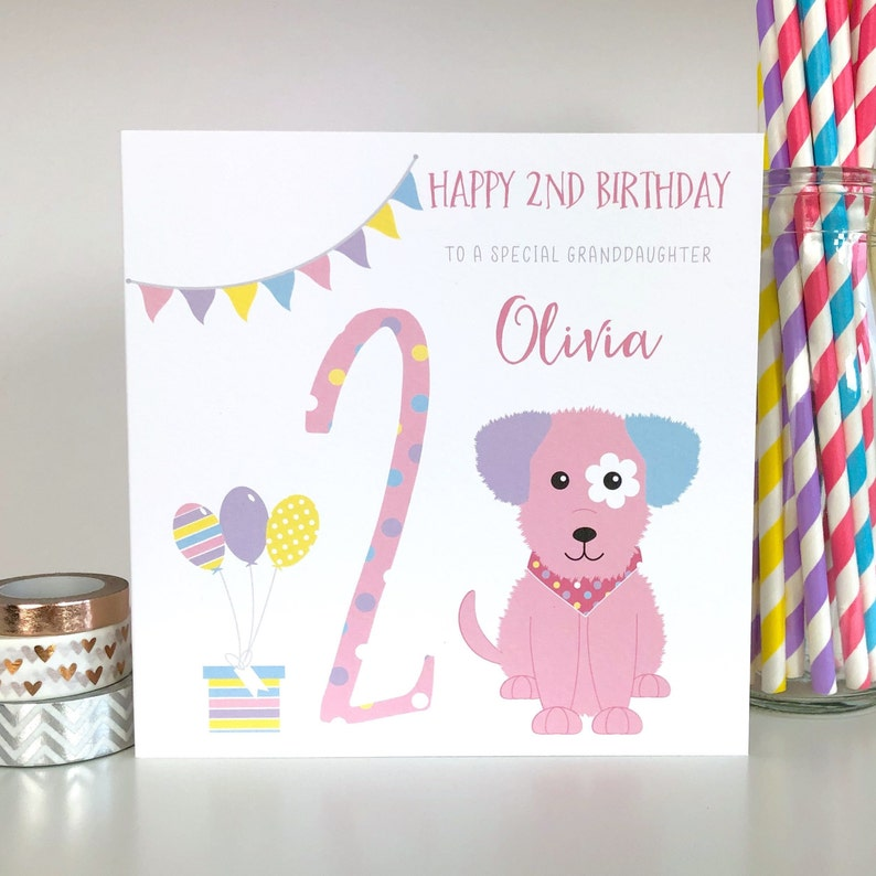 Personalised 2nd Birthday Card Puppy Daughter