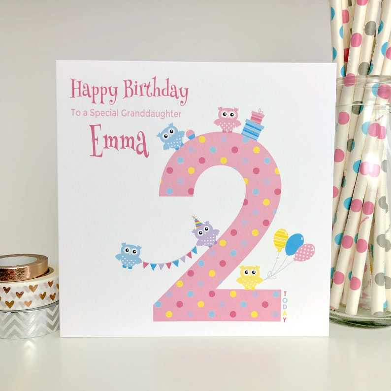 Personalised 2nd Birthday Card Granddaughter Daughter