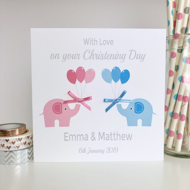 On your Baptism Day for Boy or Girl Pink Baptism Card