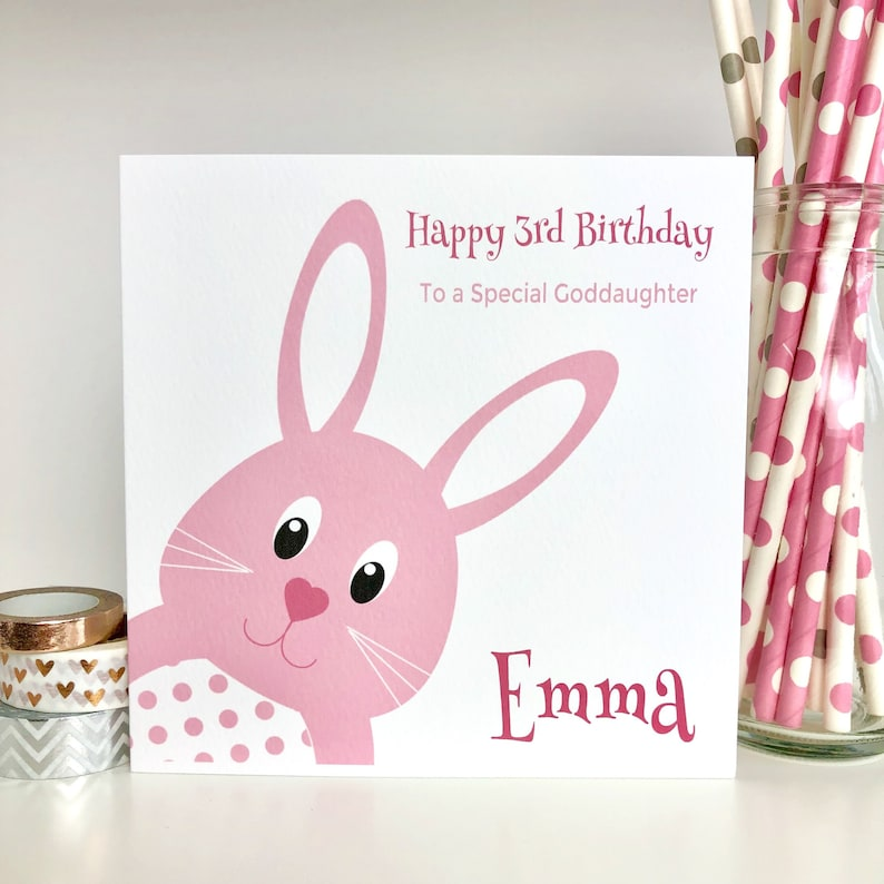 Personalised Bunny Birthday Card First 1st 2nd 3rd Granddaughter Daughter Any Feesten Speciale Gelegenheden