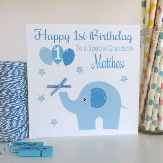 Personalised 1st Birthday Card First Birthday Card Boys Etsy