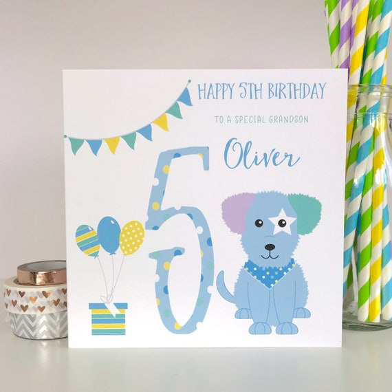 Personalised 5th Birthday Card Childrens