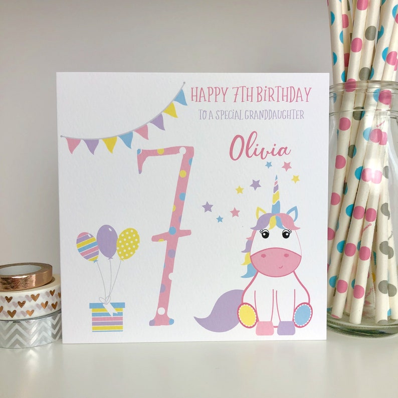 Personalised 7th Birthday Card Unicorn 7th Birthday Card Etsy