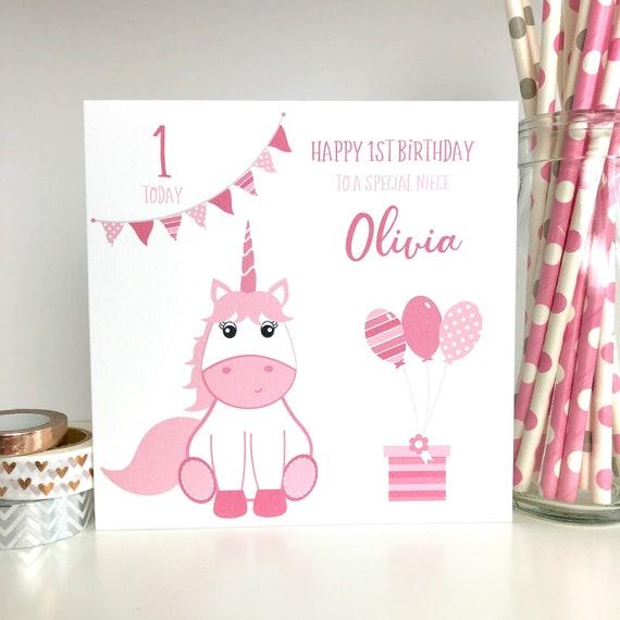 Personalised Birthday Card Unicorn 1st