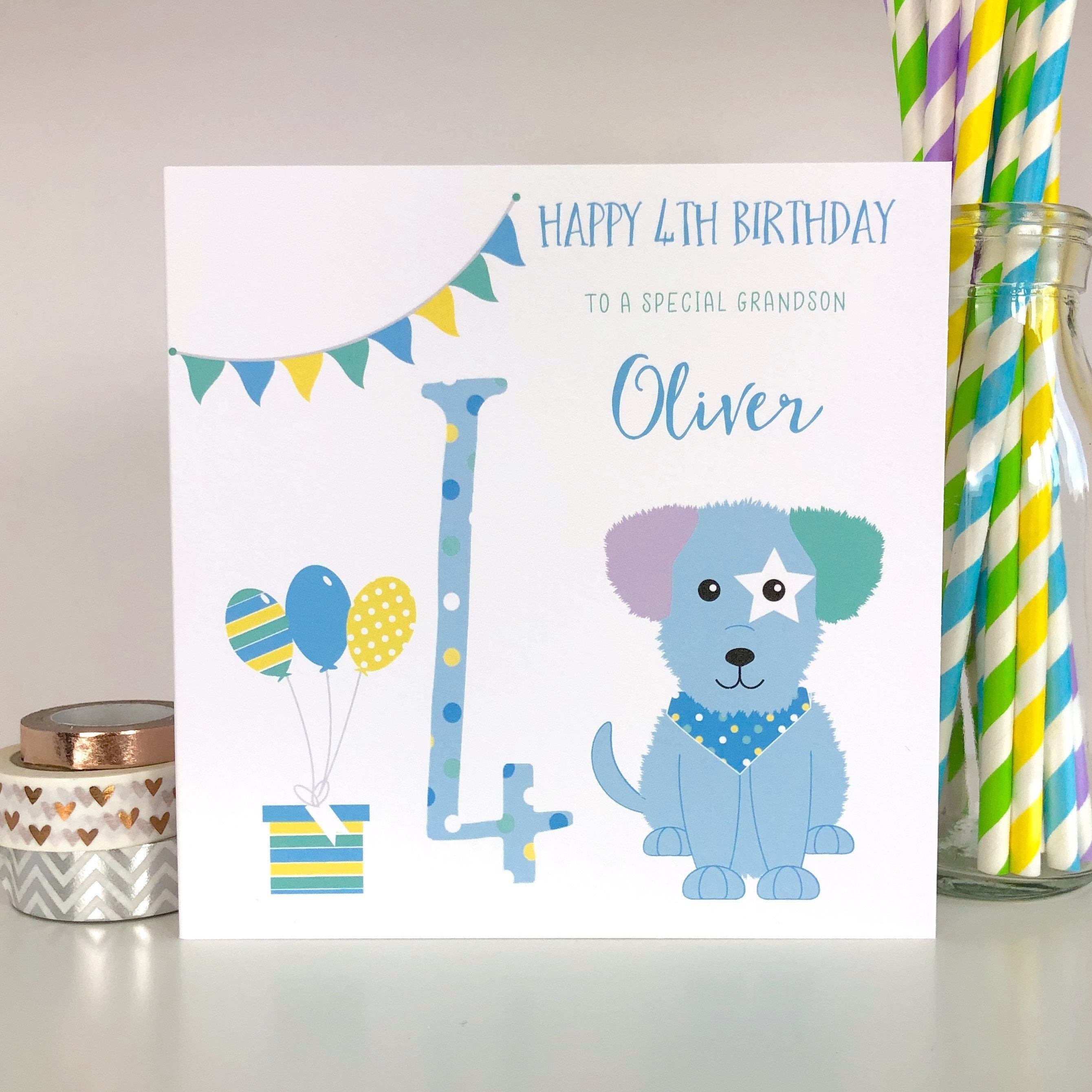 Personalised 4th Birthday Card Childrens
