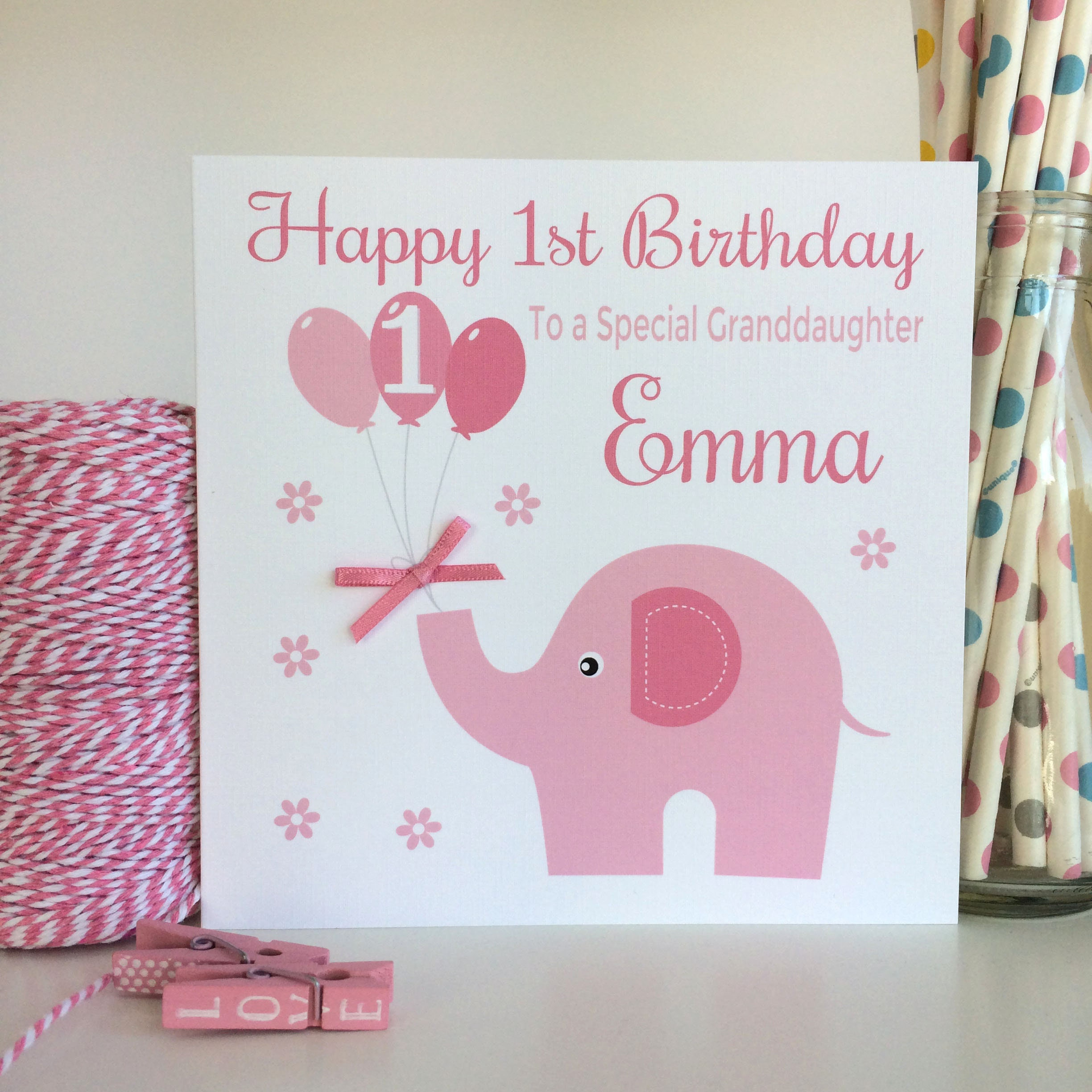 Personalised 1st Birthday Card First Girls