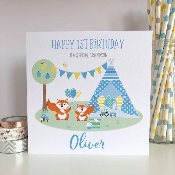 Personalised Boy 1st Birthday Card Godson Son Grandson 1st First Birthday Card