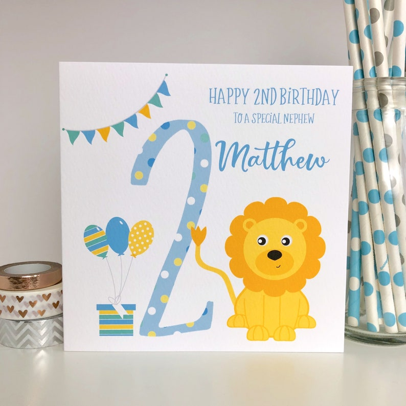 Personalised 2nd Birthday Card Lion Grandson Son